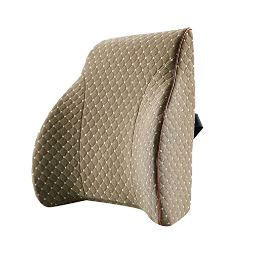 MYLUNE HOME Memory Foam Lumbar Support Cushion Pillow to be Used on the Chair of Car,Office and Sofa Alleviates Lower Back Pain Waist Pillow Super Soft Breathable Cover (brown)