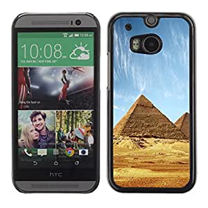 Soft Silicone Rubber Case Hard Cover Protective Accessory Compatible with HTC ONE M8 2014 - Architecture Ancient Pyramids Giza