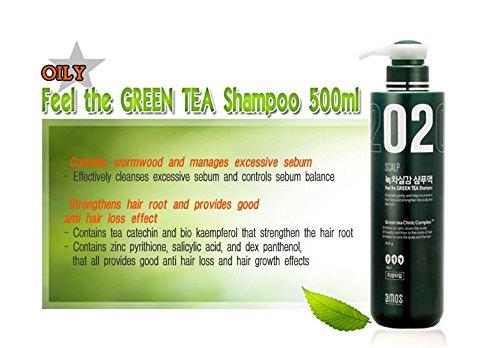 Amore Pacific Amos del cuero cabelludo 02 Feel The Green Tea pérdida del pelo Champú proteger el cuero cabelludo Care (Cueros cabelludos grasos) 500g: ...
