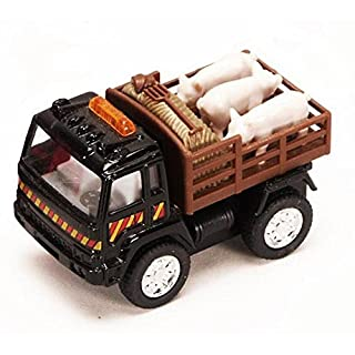 "Metal Diecast Pullback Farm Truck - One 3.25"" Truck with Sheep, Cows, or Pigs"