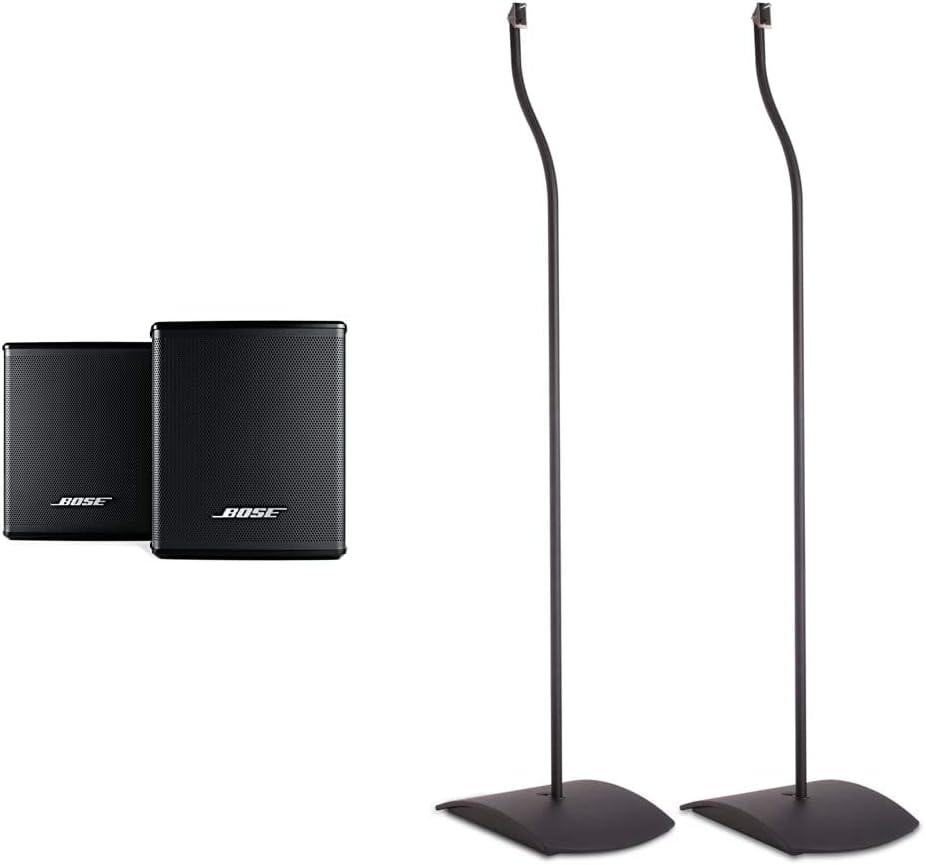 Bose Surround Speakers, Black & UFS-20 Series II Universal Floor Stands (Pair of 2) - Black