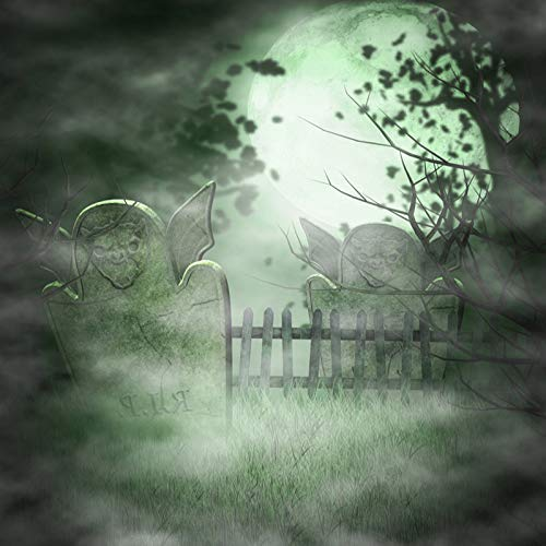 GoHeBe Full Moon Backdrop 6x6ft Photography Background Happy Halloween Scary Graveyard Tombstone Creepy Forest Fence Children Kids Party Photo Video Studio Props -