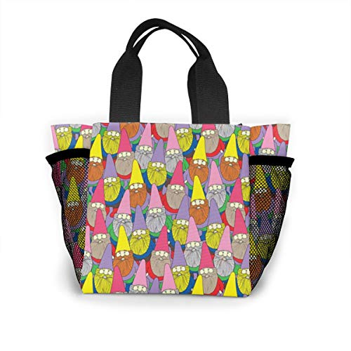 TYTland Gnome Pattern Reusable Lunch Bags Printed Lunch Tote Bag Food Container ()