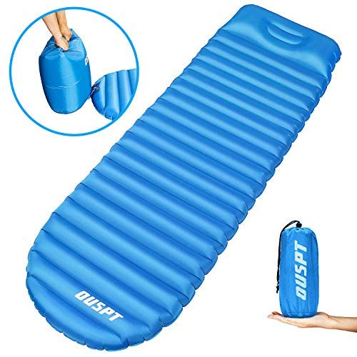 OUSPT Sleeping Pads, Self Inflating Camping Outdoor Air Pad with Attached Pillow- Ultralight Compact Portable Waterproof Thick Rest Mat for Backpacking Hiking Traveling (Blue) [並行輸入品] B07R4V6XV4