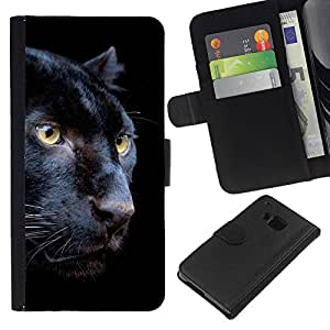 KingStore / Leather Etui en cuir / HTC One M7 / Puma Negro Piel intenso Naturaleza Animal