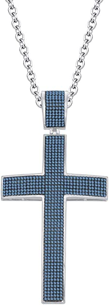 DTJEWELS 1 Carat Clear D//VVS1 Diamond Cross Pendant Necklace with 18 Chain in 14K White Gold Plated