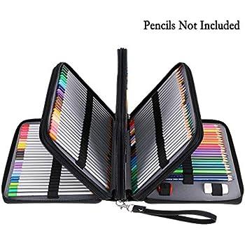Amazon.com: Soucolor 168 Slots Pencil Case PU Leather Handy ...