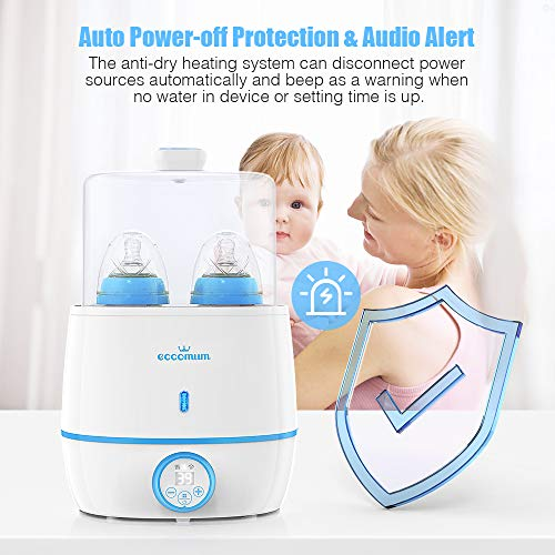 51MBQwACfjL - Baby Bottle Warmer & Bottle Sterilizer, Eccomum 6-in-1 Double Bottle Warmer For Breast Milk, Baby Food Heater With LCD Display Accurate Temperature Control, Constant Mode, Fit All Baby Bottles