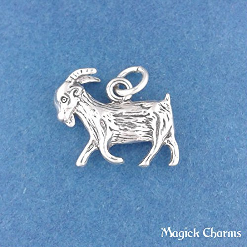 925 Sterling Silver 3-D Goat Charm Pendant Capricorn Zodiac Astrology Jewelry Making Supply, Pendant, Charms, Bracelet, DIY Crafting by Wholesale (Zodiac Italian Charm)