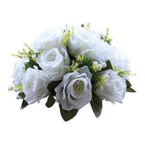Pack of 2 Fake Flower Bouquet, Plastic Roses with Base, Suit for Wedding/Party Centerpiece Road Lead Flower Rack Decorations 45