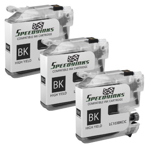 Speedy Inks – Compatible Ink Cartridge for Brother LC-103 LC103 (3 Black) 3 Pack for MFC Multifunction Printers MFC-J4310DW MFC-J4410DW MFC-J4510DW MFC-J4610DW MFC-J4710DW MFC-J470DW MFC-J475DW MFC-J870DW MFC-J875DW, Office Central