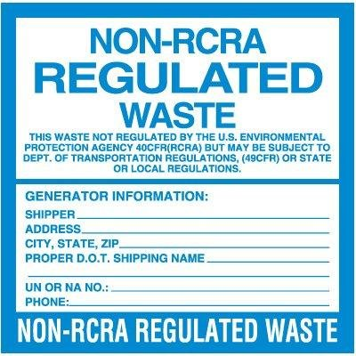 LABEL-NON-RCRA REGULATED WASTE by Emedco