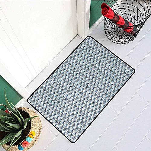 GloriaJohnson Stripes Commercial Grade Entrance mat Eighties Style Line Arrangement Diagonal Pattern of Geometric Concepts for entrances garages patios W29.5 x L39.4 Inch Cream Blue Pale -