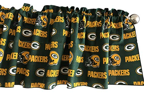 Zen Creative Designs 100% Cotton NFL Sports Team Green Bay Packers Green Multi-Print Window Valance Panel / Kids Nursery Window Treatment Decor (14