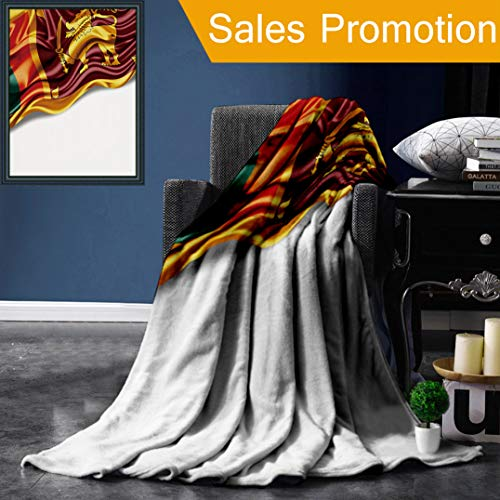 "Unique Custom Flannel Blankets Sri Lanka Flag of Silk with Copyspace for Your Text Or Images and White Background Super Soft Blanketry for Bed Couch, Throw Blanket 50"" x 70"""