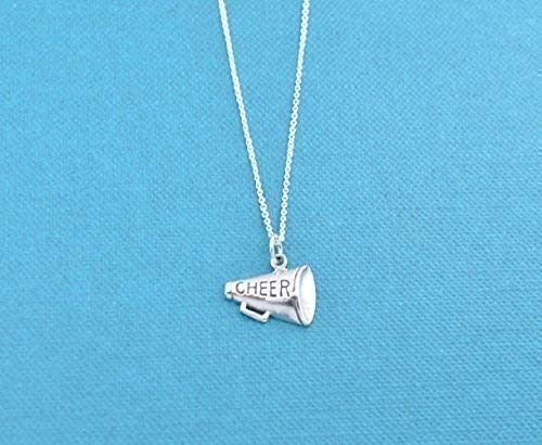 Girl's, teen's or women's Megaphone charm pendant in sterling silver on an 18