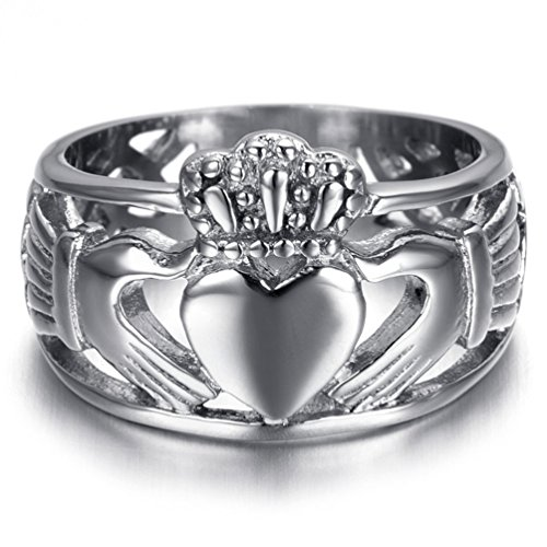 Mens Stainless Steel Claddagh with Celtic Knot Heart Crown Eternity Wedding Band Silver Tone, Size 7-15 (12)