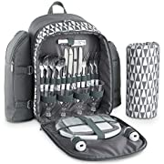 VonShef 4 Person Geo Grey Picnic Backpack Bag With Blanket – Includes 29 Piece Dining Set & Cooler Compartment to Keep…