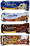 quest bar variety 24 - Quest Nutrition- Quest Bar Variety Pack: Cinnamon Roll, Vanilla Almond Crunch, Peanut Butter and Jelly, and Chocolate Brownie, 24 Protein Bars