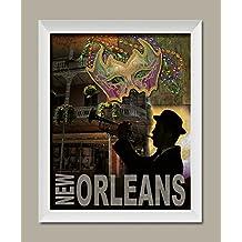 Popular New Orleans Mardi Gras Bourbon Street Trumpet Player Sign; One 11x14in White Framed Print