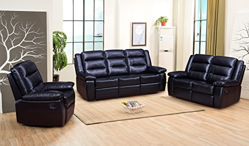 Betsy Furniture 3/2-PC Bonded Leather Recliner Set Living Room Set in Black, Sofa Loveseat Chair Pillow Top Backrest and Armrests 8016 (3)