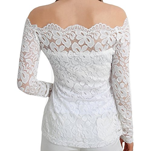 Maglietta Barca Scollatura r Lace Lunga In maglietta Manica bianco Toogoo Xl A Pizzo Donna Uw4zqTx