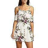 NRUTUP Dresses for teensSummer Off The Shoulder Playsuit for Holiday Ladies Jumpsuit(White,L)