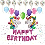 "Unicorn Party: BONUS VALUE ! includes CONFETTI BALLOONS: 31 pc set, HAPPY BIRTHDAY LETTERS balloon banner and latex colored balloons, HUGE 42"" unicorn balloons set rainbow unicorns"