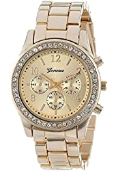 Women Geneva Rhinestone Leather Band Quartz Wrist Watch