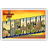 GREETINGS FROM MICHIGAN vintage reprint postcard set of 20 identical postcards. Large letter US state name post card pack (ca. 1930's-1940's). Made in USA.