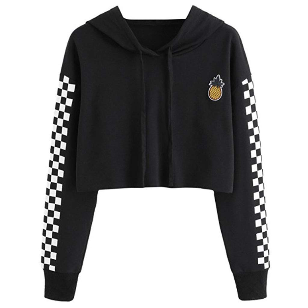 Black Redriver Pineapple Embroidered Plaid Long Sleeve Hoodies for Women