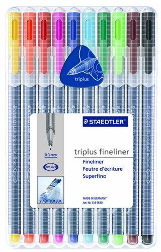 Staedtler Triplus Fineliner Pens, Pack of 10, Assorted Colors (334 SB10A604) ()