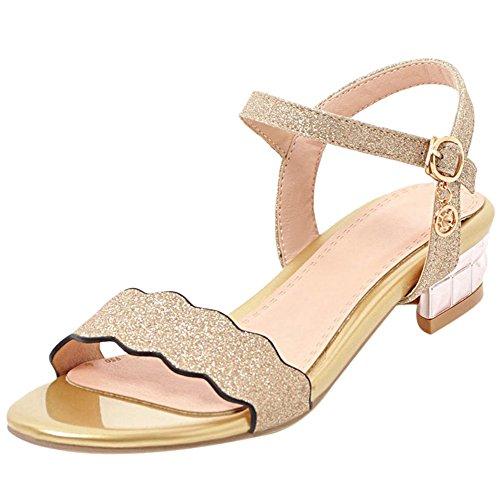 Correa Plano Gold Zapatos Sandalias Mujer Tobillo Abierta Punta De Coolcept wxnTFqptB