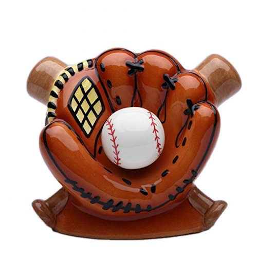 (StealStreet SS-CG-10468, 5.88 Inch Ceramic Baseball in Glove with Bats Money Piggy Bank)