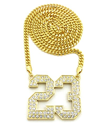 Jersey Number 23 Iced Out Pendant with Chain Necklace - 6mm 36