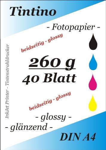 Tintino 2-40-260 - Fogli A4 di carta lucida in entrambi i lati, per foto, per stampanti a getto d'inchiostro, asciugatura immediata, impermeabile, grammatura: 260 g/mq, colori brillanti, confezione da 40, colore: bianco brillante