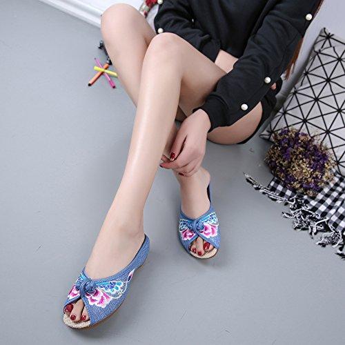 Moda Estilo Étnico Sandalias Femenino Flop Lenguado Zq Tendón Bordados De Blue Cómodo Flip Zapatos wAYg6Xqnv