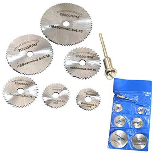 LtrottedJ 6pcs HSS Saw Disc Wheel Cutting Blades, For Drills Rotary Tools + Mandrel ()