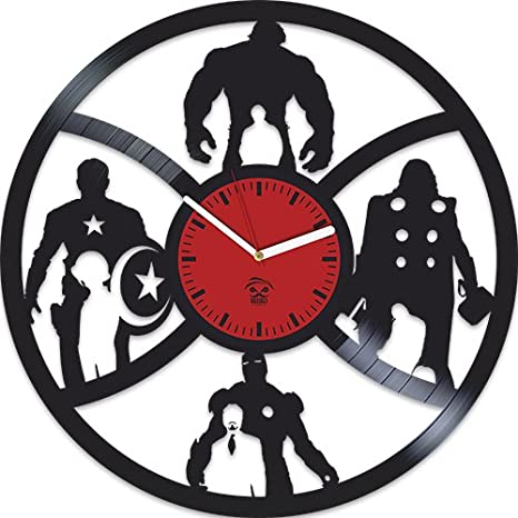 Kovides The Avengers Clock, Earths Mightiest Heroes, Iron Man, Hulk, Vinyl Wall