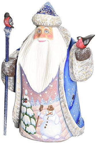 (G. Debrekht Happy Snowman and Bird Santa Hand-Painted Wood Carving)