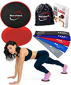 Borchent Gliding Discs and 3 Resistance Bands from Fitness Equipment for Home for Intense, Low-Impact Exercises to Strengthen Core, Glutes, and Abs