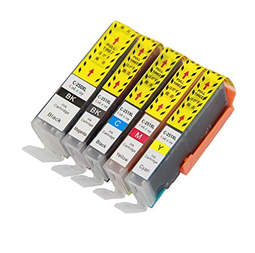 ColorJoy Compatible Ink Cartridge PGI-250XL CLI-251XL For Canon PIXMA MG5420 MG5422 MG5520 MG6320 MG6420 MG7120 IP7220 MX722 MX922 Printers (BK+BK+C+M+Y)