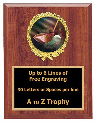 (Golf Plaque Awards 7x9 Wood Sports Trophy Golfing Tournament Trophies Free Engraving)