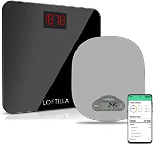 Loftilla Digital Food Scale for Kitchen Black Bathroom Scale for Body Weight