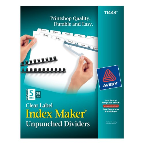Avery Index Maker Label Dividers (Avery Index Maker Unpunched Clear Label Dividers for Bound Documents, 5-Tab, White, 25 Sets (11443))