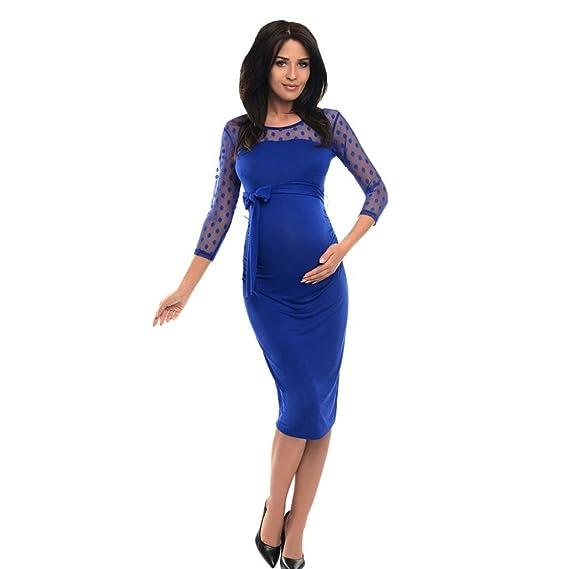 Vestidos de invierno, Dragon868 Mujeres Polka Dot Lace Maternity Ruched Bodycon vestido de embarazo (