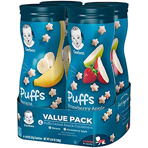 Gerber Graduates Puffs, Banana and Strawberry Apple, Pack of 12