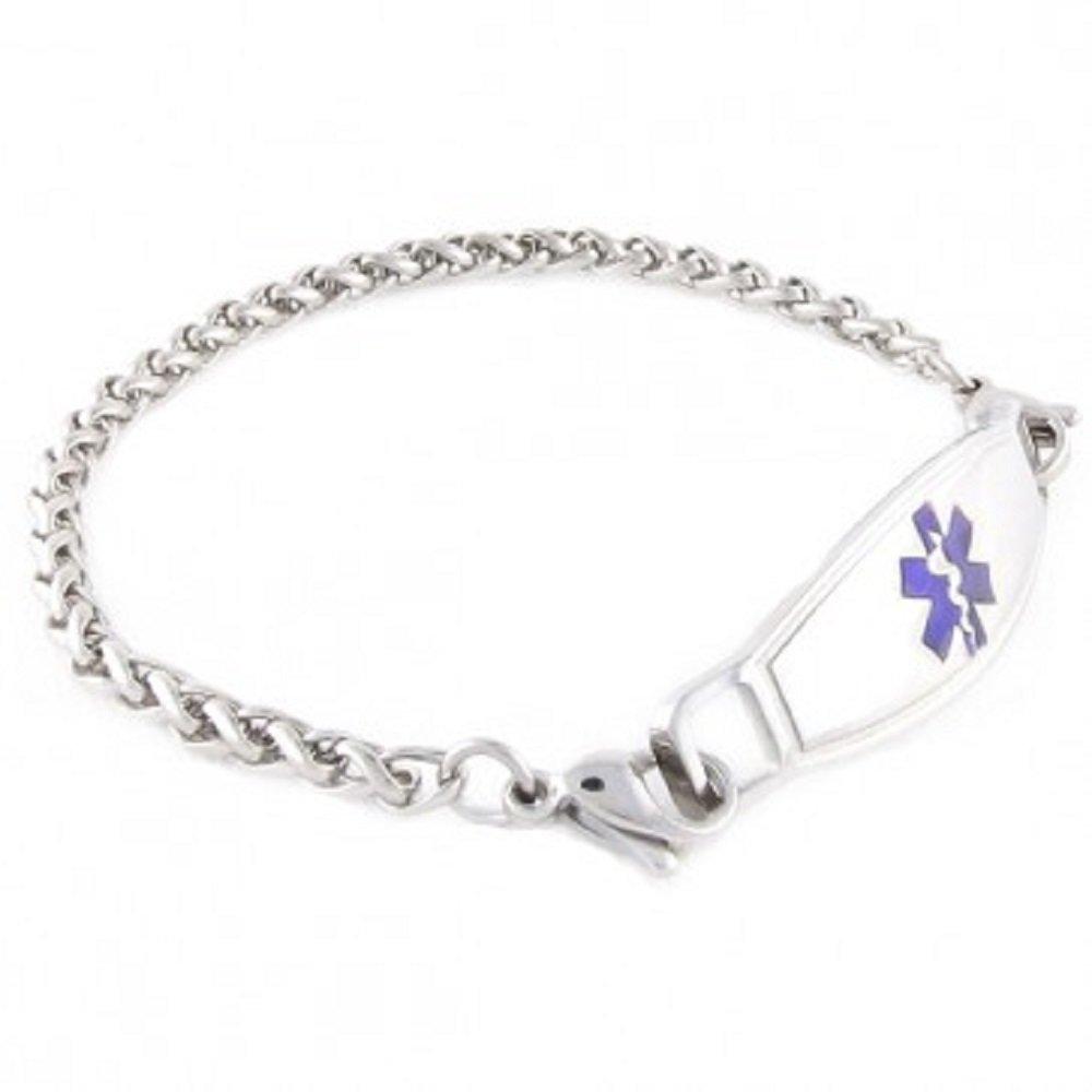 Adults Steel Medical Alert ID Bracelet - Custom Engraving Included - Choose Size & Color - Wheat