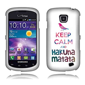 Fincibo (TM) Samsung Illusion i110 Protector Cover Case Snap On Hard Plastic - Keep Calm and Hakuna Matata, Front And Back