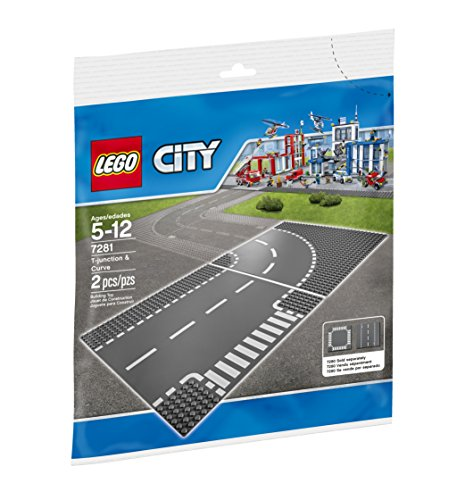 LEGO City Town T-Junction and Curve Plate 7281 Building Kit (Road Plates)